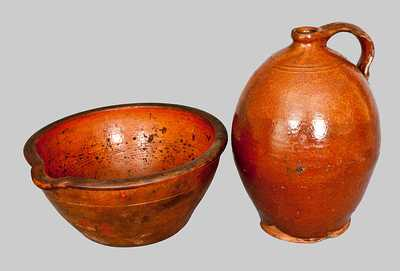 Lot of Two: Glazed Redware Jug with Redware Milkpan