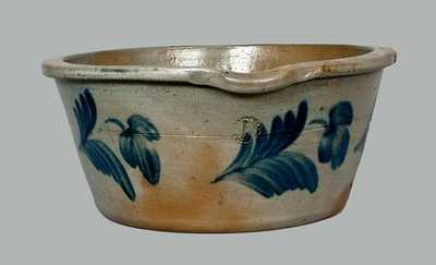 Stoneware Milkpan with Floral Decoration, attrib. R. J. Grier, Chester County, PA