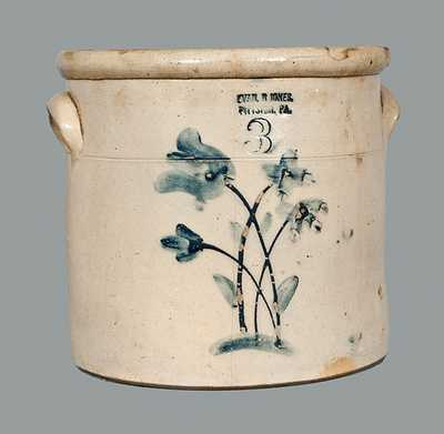 3 Gal. EVAN R. JONES / PITTSTON, PA Stoneware Crock with Floral Decoration