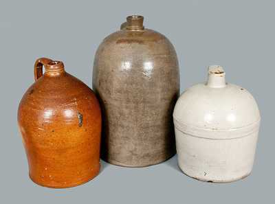 Lot of Three: Stoneware Jugs including COWDEN & WILCOX
