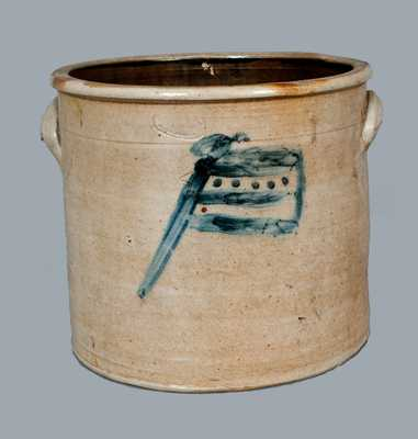 Rare A. E. SMITH / PECK SLIP, NY Stoneware Crock w/ American Flag Decoration