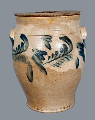 Baluster Form Richard Remmey, Philadelphia, PA Stoneware Crock with Tulip Decoration