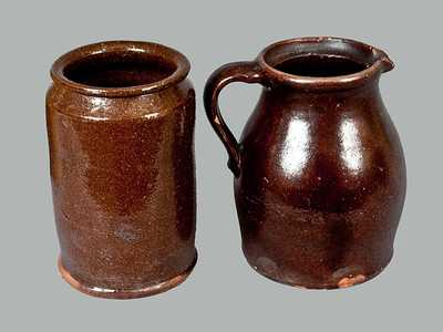 Lot of Two: Glazed Redware Jar and Pitcher