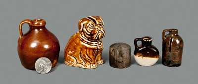 Lot of Five: Miniature Pottery Articles incl. Jugs and Rockingham Dog Bank