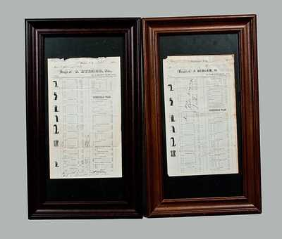 Lot of Two: Framer Billheads of Stoneware Manufacturer J. BURGER, JR., Rochester, NY, One Hand-Signed