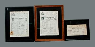 Lot of Three: Framed Billheads of Stoneware Manufacturers J. FISHER and FISHER & LANG, Two Illustrated