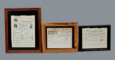 Lot of Three: Framed Billheads of Stoneware Manufacturers FISHER & LANG and J. FISHER, One w/ Pottery Building