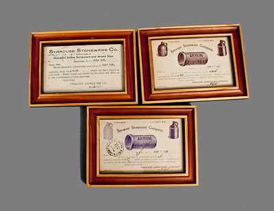 Lot of Three: SYRACUSE STONEWARE CO. Framed Advertising Cards