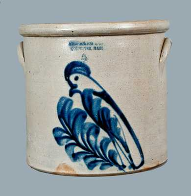 5 Gal. F. B. NORTON / WORCESTER, MASS. Stoneware Crock with Parrot Decoration