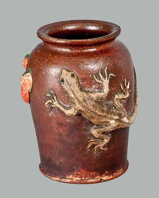 Unusual Redware Jar with Applied Lizard and Berries