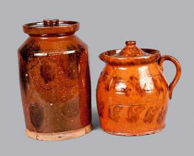 Lot of Two: Redware Batter Pitcher and Redware Jar, Both with Manganese Decoration