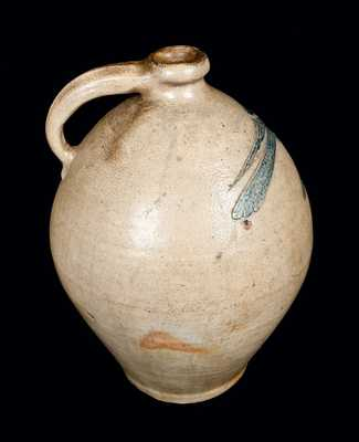 Important Ovoid New York City Stoneware Jug with Elaborate Incised Bird Decoration, c1800
