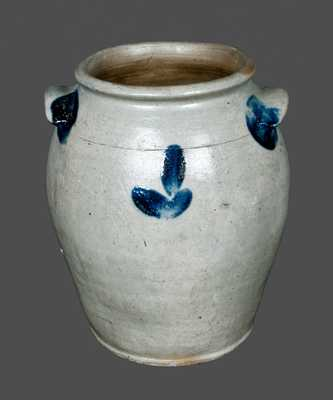 Very Rare Decorated Stoneware Crock Signed J. SWANN, Alexandria, Virginia