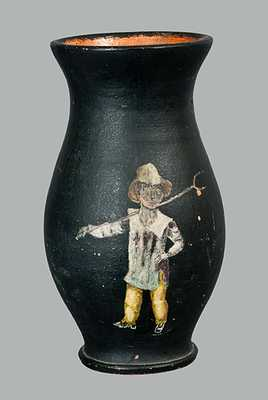 Painted Redware Vase Dated 1885