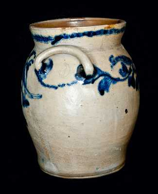 Extremely Rare Loop-Handled Baltimore Stoneware Crock with Five Birds and Floral Decoration, c1815-20