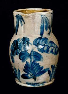 Remmey, Philadelphia Stoneware Pitcher with Elaborate Floral Decoration