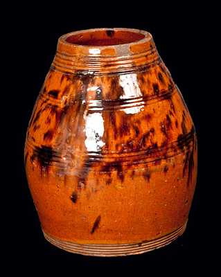 Bulbous Redware Jar with Manganese Decoration, Philadelphia, circa 1800
