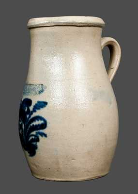 JOHN BURGER / ROCHESTER, NY Stoneware Pitcher with Bright Cobalt Floral Decoration