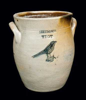 I. SEYMOUR / TROY Stoneware Crock with Incised Bird