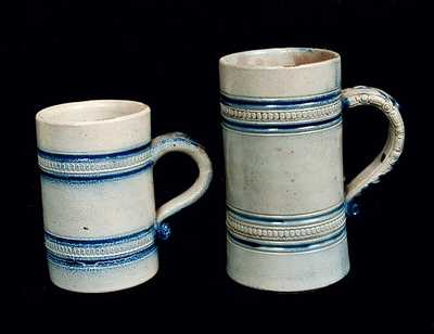 Lot of Two: Whites Utica Stoneware Mugs, One with New York Advertising on Underside