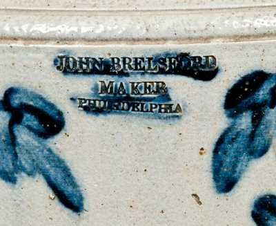 Very Rare JOHN BRELSFORD / MAKER Philadelphia Stoneware Water Cooler