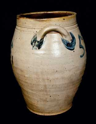 Very Rare PAUL CUSHMAN, Albany, NY, Stoneware Crock with Five Large Cobalt 5 s