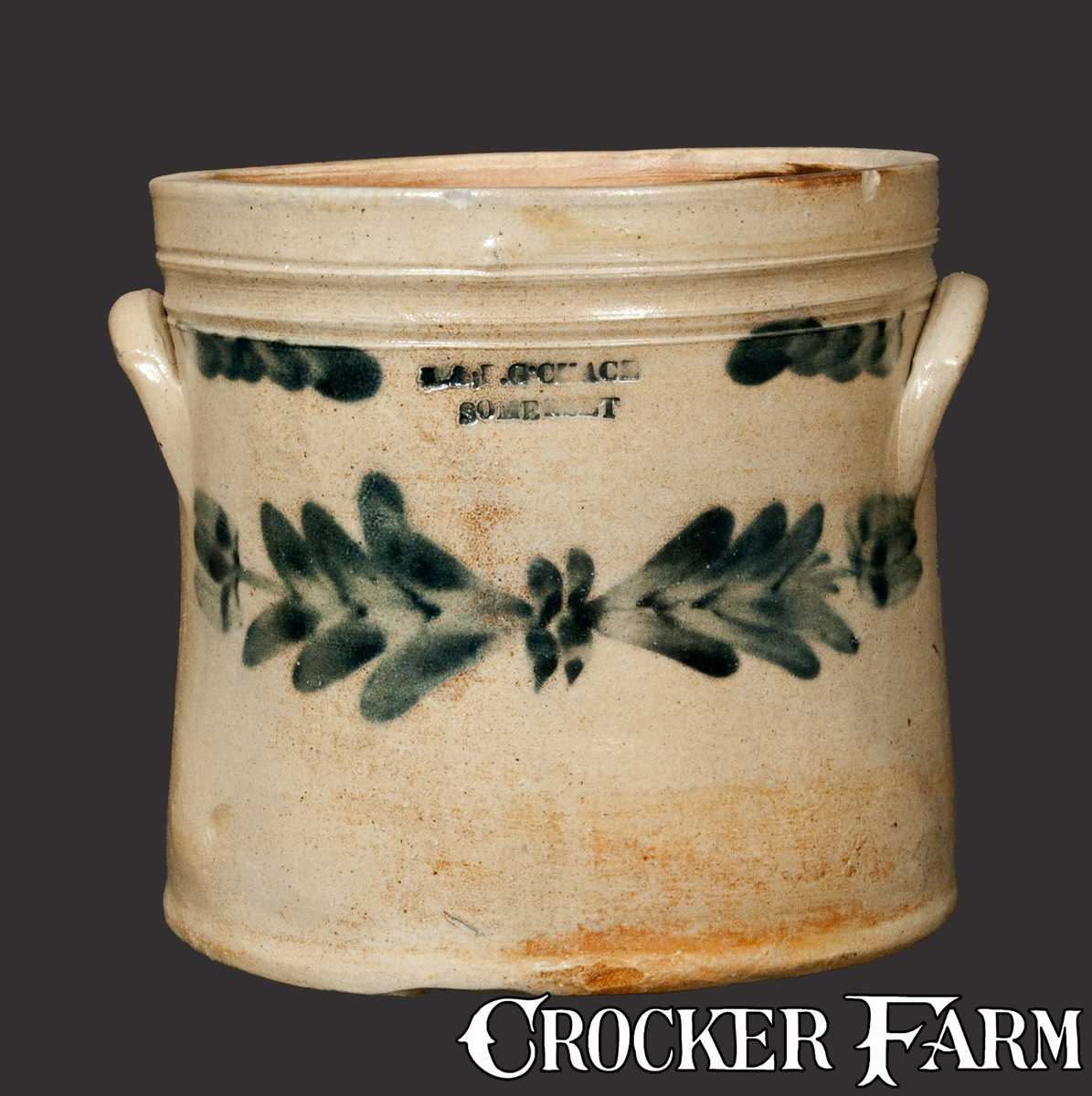 L B G CHACE SOMERSET Stoneware Crock With Floral Decoration