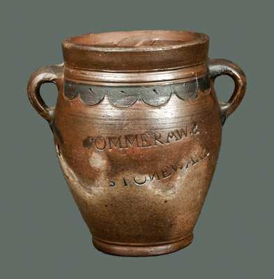 Very Rare COMMERAWS STONEWARE Crock with Vertical Handles and Compass Decoration