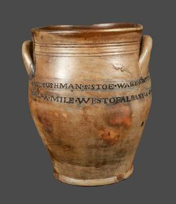 Very Rare PAUL CUSHMAN / 1809 Stoneware Crock with Two-Line