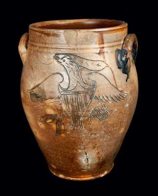 Very Rare D. GOODALE / HARTFORD Stoneware Crock with Finely-Incised Federal Eagle Decoration