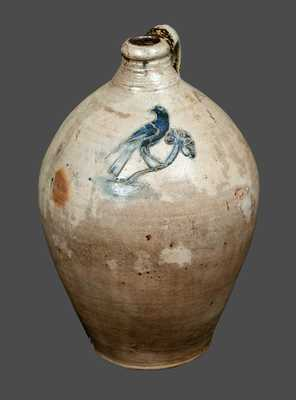 Stoneware Jug with Ornate Incised Bird Decoration, Manhattan, circa 1800