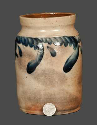 Small Remmey, Philadelphia, Stoneware Crock with Swag Decoration