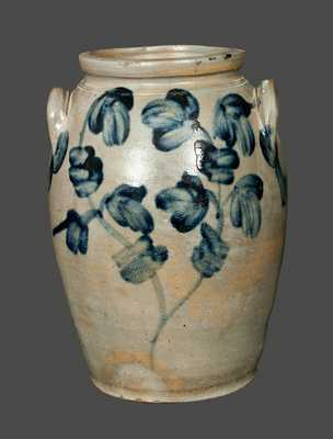 2 Gal. Ovoid Baltimore Stoneware Jar with Floral Decoration, circa 1845