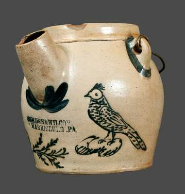 Outstanding Cowden & Wilcox Stoneware Batter Pail with Ornate Slip-Trailed Bird Decoration