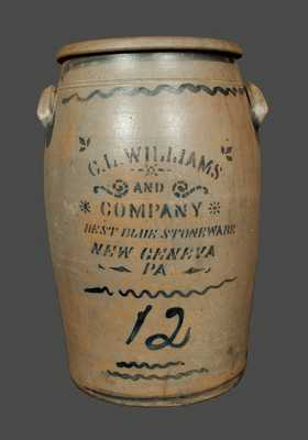 Twelve-Gallon C. L. WILLIAMS / BEST BLUE STONEWARE / NEW GENEVA, PA Crock