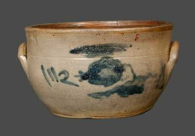 Scarce Cobalt-Decorated Stoneware Bowl, Stamped