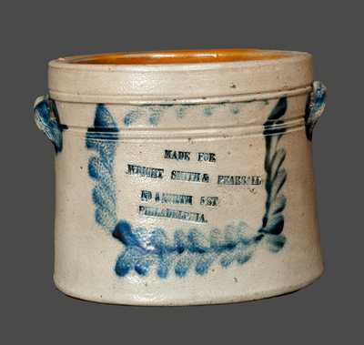 Rare Richard Remmey, Philadelphia, Stoneware Advertising Butter Crock
