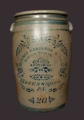 20 Gal. JAMES HAMILTON & CO. / GREENSBORO, PA Stoneware Crock with Vibrant Stenciled and Freehand Decoration