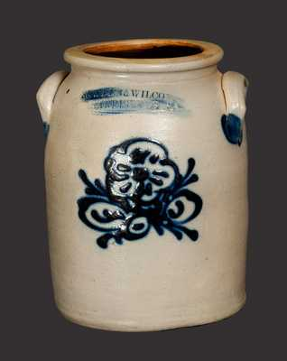 1 Gal. COWDEN & WILCOX / HARRISBURG, PA Stoneware Jar with Slip-Trailed Floral Decoration