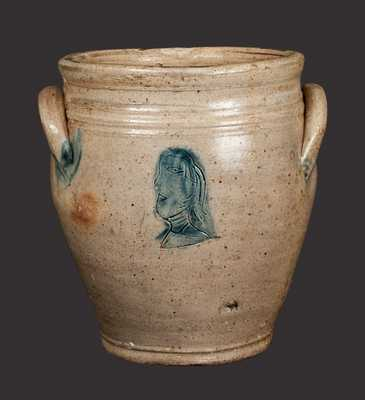 Very Rare Old Bridge, NJ, Stoneware Jar with Impressed Woman Profile on Front and Back