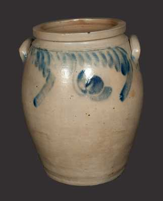 4 Gal. Ovoid Stoneware Jar with Hanging Tulip Decoration att. Chester County, PA
