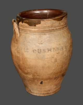PAUL CUSHMAN (Albany, New York) Stoneware Crock with Coggled Decoration