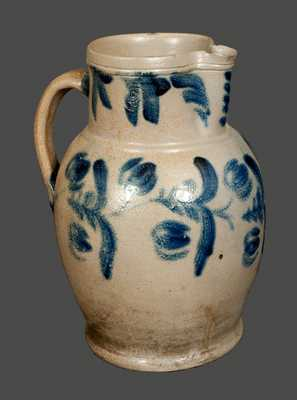 Two-Gallon Stoneware Pitcher with Tulip Decoration att. E. B. Hissong, Cassville, PA