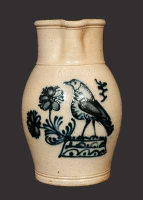 Reproduction Stoneware Pitcher with Detailed Geddes, NY Style Bird, R & B DIEBBOLL / WASHINGTON, MI
