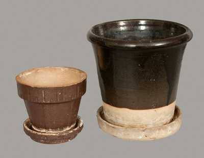 Lot of Two: Stoneware Flowerpot and Sewertile Flowerpot