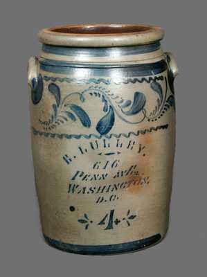 Rare E. LULLEY / WASHINGTON, DC Stoneware Crock with Elaborate Decoration