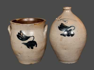 Lot of Two: C. BOYNTON / TROY, NY Stoneware Jug and Matching Crock w/ Incised Bird on Reverse