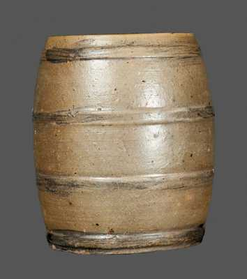 Exceptional Diminutive Stoneware Keg with Incised Bird and Floral Decoration, Albany, NY, circa 1810-20