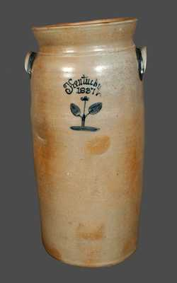 Rare and Important Monumental Stoneware Churn, I. THOMAS, Maysville, KY, 1837