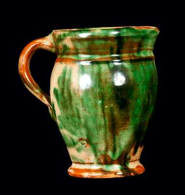 Fat-Bodied Multi-Glazed Redware Cream Pitcher, attrib. S. Bell & Son, Strasburg, VA